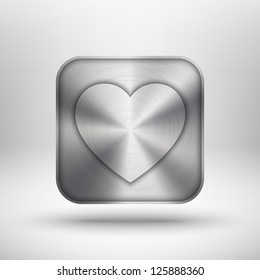 Valentines's day technology icon (button) with heart, metal texture (stainless steel, chrome, silver), shadow and light background for internet sites, web user interfaces (ui) and applications (app).