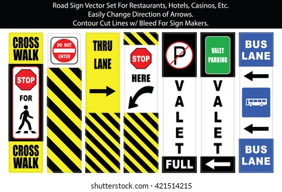 Valet and Parking Signs Vector Set