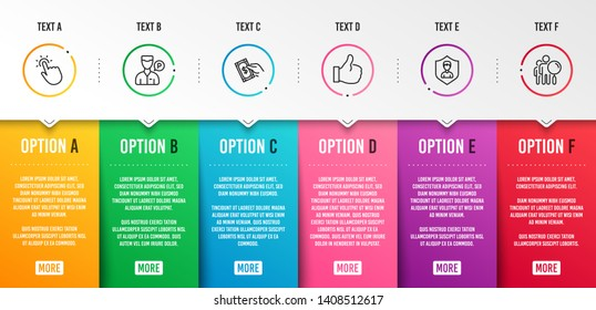 Valet servant, Touchpoint and Pay money icons simple set. Security agency, Like and Search people signs. Parking man, Touch technology. People set. Infographic template. 6 steps timeline. Vector