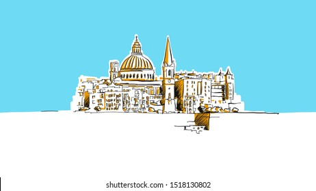 Valetta, Malta Lineart Vector Sketch. and Drawn Illustration on blue background.