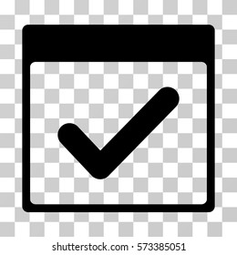 Valid Day Calendar Page icon. Vector illustration style is flat iconic symbol, black color, transparent background. Designed for web and software interfaces.