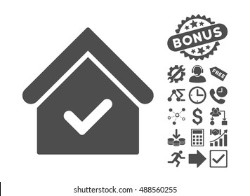 Valid House pictograph with bonus icon set. Vector illustration style is flat iconic symbols, gray color, white background.