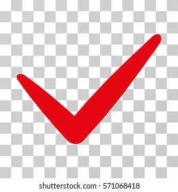 Valid icon. Vector illustration style is flat iconic symbol, red color, transparent background. Designed for web and software interfaces.