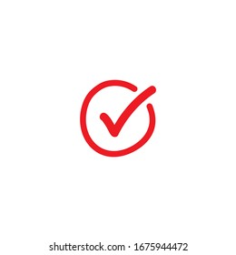 Valid Seal hand drawn icon. Red calligraphic tick in red circle. Flat OK sticker icon. Isolated on white. Accept button. Good for web and software interfaces. Vector illustration. Check Mark.