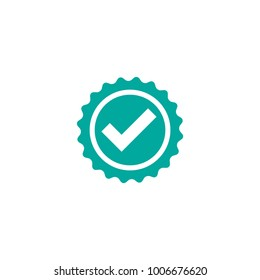 Valid Seal icon. Blue circle with ribbon outline and white tick. Flat OK sticker icon. Isolated on white. Accept button. Good for web and software interfaces. Vector illustration.