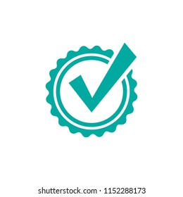 Valid Seal icon. Blue circle with ribbon outline and white crazy tick. Flat OK sticker icon. Isolated on white. Accept button. Good for web and software interfaces. Vector illustration.