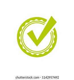 Valid Seal icon. Green circle with ribbon outline and white tick. Flat OK sticker icon. Isolated on white. Accept button. Good for web and software interfaces. Vector illustration.