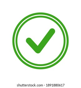 Valid Seal icon. Green circle with green tick. Flat OK sticker icon. Isolated on white. Accept button. Good for web and software interfaces. Vector illustration.