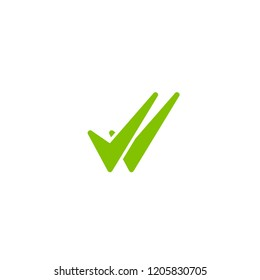 Valid Seal icon. Green double tick. Flat done sticker icon. Isolated on white. Accept button. Good for web and software interfaces. Vector illustration. Check Mark.
