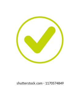 Valid Seal icon. Olive green tick in blue circle. Flat OK sticker icon. Isolated on white. Accept button. Good for web and software interfaces. Vector illustration.