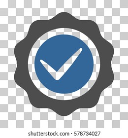 Valid Seal icon. Vector illustration style is flat iconic bicolor symbol, cobalt and gray colors, transparent background. Designed for web and software interfaces.
