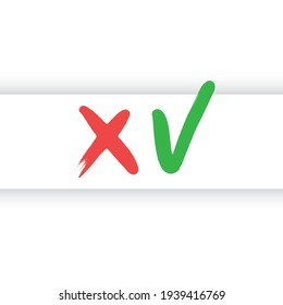 Valid seal icons, accept and reject symbols. Green tick and red x. Check mark vector.
