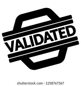 Validated Black Stamp Sticker Label On White Background