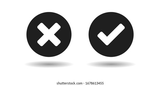 Validation buttons, tick and cross on buttons. Vector Illustration.