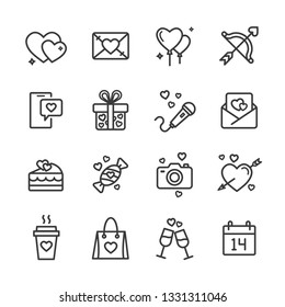 Valintines days line icons set
