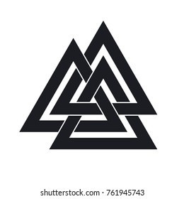 Valknut. Interwoven triangles. Vector illustration. Flat icon. Logo, tattoo, amulet. Esotericism, the occult, sacred geometry. Scandinavian mythology.