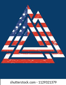 Valknut Norse mythology god Odin heart rune vector illutration with the American flag. Viking Warior symbol.