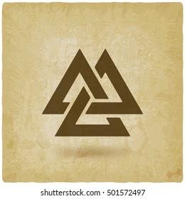 valknut symbol. interlocked triangles old background. vector illustration - eps 10
