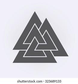Valknut symbol . Vector illustration