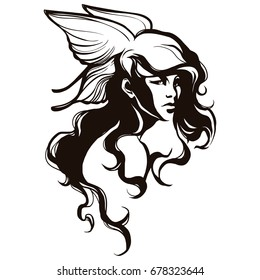 Valkyrie with curly hair and butterfly wings. Beauty woman portrait. Vector illustration.