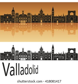 Valladolid skyline in orange background in editable vector file