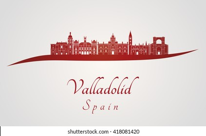 Valladolid skyline in red and gray background in editable vector file