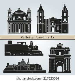 Valletta landmarks and monuments isolated on blue background in editable vector file