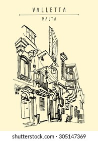 """Valletta, Malta, Europe. Artistic vector illustration. Pedestrian street in old town. Travel sketch drawing. Poster, postcard template with """"Valletta Malta"""" hand lettering. Nice historical buildings"""