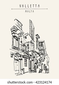 Valletta, Malta, Europe. Pedestrian street in old town. Nice historical buildings. Travel sketch drawing. Poster, postcard template, book illustration in vector