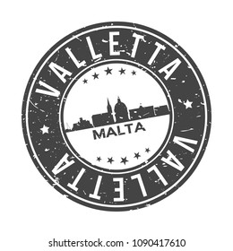 Valletta Malta Round Stamp Icon Skyline City Design