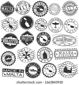 Valletta, Malta Set of Stamp. Vector Art Postal Passport Travel Design. Travel and Business Seals.