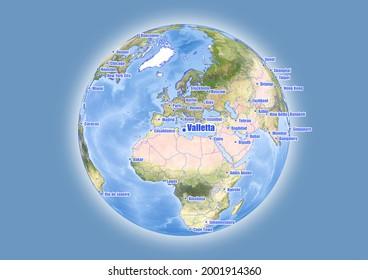 Valletta-Malta is shown on vector globe map. The map shows Valletta-Malta 's location in the world.