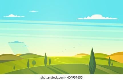 Valley landscape. Vector illustration.