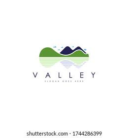 Valley logo concept vector. Mountain valley logo template