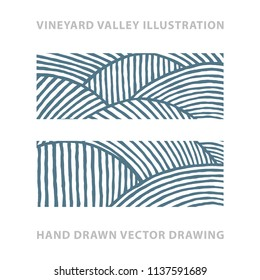 Valley . Vineyard and sunny valley hand drawn illustration. Nature and meadows. Vineyard woodcut style sketch drawing. Landscape abstract background.