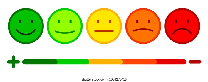 Valuation by emoticons, set smiley emotion, by smilies, cartoon emoticons - stock vector