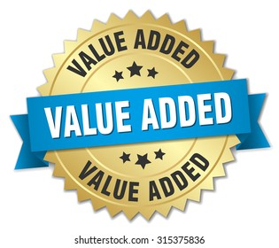 value added 3d gold badge with blue ribbon