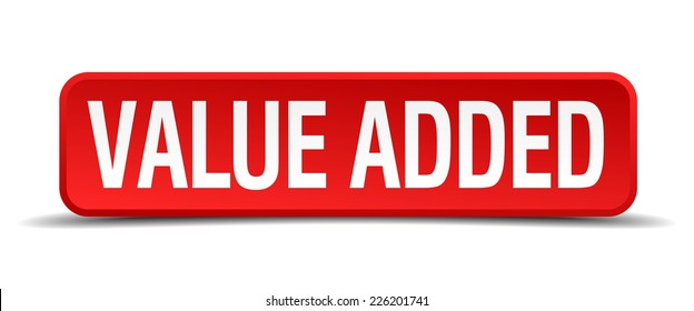 Value added red 3d square button isolated on white