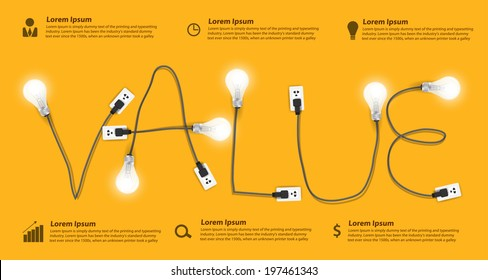 Value concept modern design template, Creative light bulb idea abstract info graphic banner workflow layout, diagram, step up options, Vector illustration