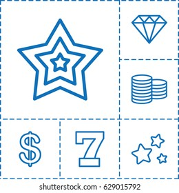 Value icon. set of 6 value outline icons such as Coin, 7 number, Diamond