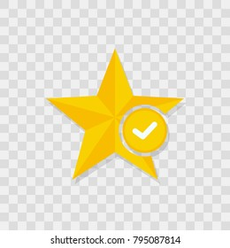 Value icon. Star favorite sign web icon with check mark