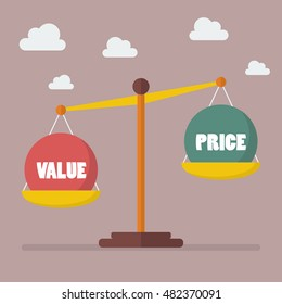 Value and Price balance on the scale. Business Concept