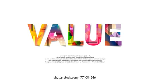 Value word creative design Concept . Modern Vector Illustration concept of word Value