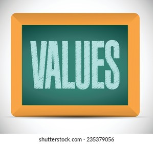 values board sign illustration design over a white background