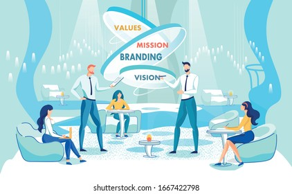Values. Mission. Branding. Vision. Skill Developing Business Training for Strategists in Trendy Coaching Center. Two Men and Three Women, Dressed Smart, Sharing Ideas and Studying Together.