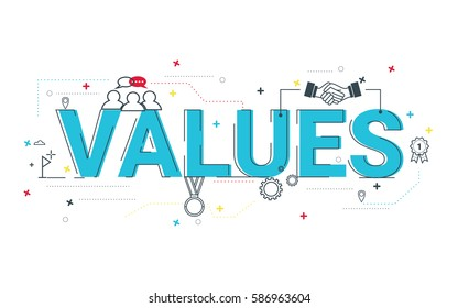 Values word vector design, typographic illustration design with flat icon for organization, business, management website or presentation.