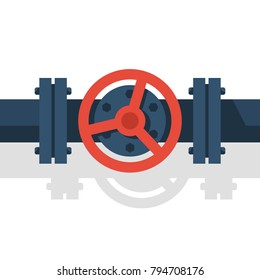 Valve on pipe. Can be used as water, gasoline, oil, gas pipeline. Vector illustration flat design. Industry system isolated on white background. Wheel to open closing flow.
