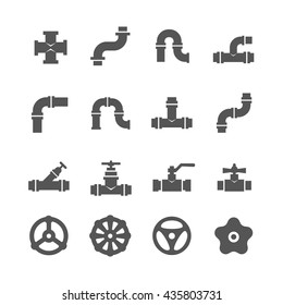 Valve, taps, pipe connectors, pipe details vector icons set. Set of pipe and tube with valve illustration