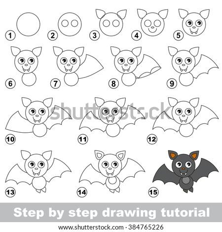 Vampire Bat Drawing Tutorial Stock Vector Royalty Free 384765226