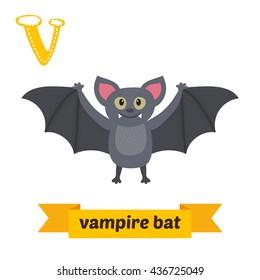 Vampire bat. V letter. Cute children animal alphabet in vector. Funny cartoon animals. Vector illustration